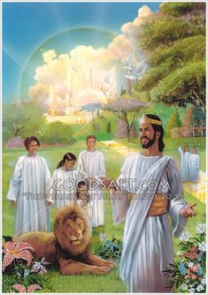 Children and people of God walking in paradise, heaven, the New Earth, New Jerusalem, with King Jesus the Lamb, with a lion laying nearby