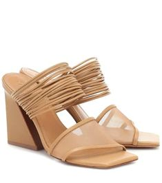 """Mercedes Castillo's Evalyn sandals are inspired by contemporary architecture. This """"Cider"""" beige pair is cut from lamb leather to a square-toe silhouette with two straps – one trimmed with semi-sheer mesh, and the . Leopard Print Sandals, Leather Gladiator Sandals, Blue Sandals, See By Chloe, Luxury Shoes, Designer Shoes, Block Heels, Patent Leather, Contemporary Architecture"""