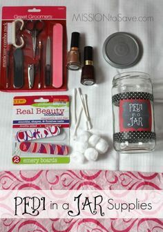 Learn how to make a Pedi in a Jar.  This is a fun DIY gift idea.  Tutorial includes free printable tag for this jar gift project.