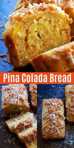Pina Colada Bread that tastes like the cocktail. This quick bread recipe is so e. - Pina Colada Bread that tastes like the cocktail. This quick bread recipe is so easy to make, no yea - Quick Bread Recipes, Banana Bread Recipes, Gourmet Recipes, Baking Recipes, Recipes With Yeast, Easy Bread Recipe, Fruit Bread, Dessert Bread, Köstliche Desserts