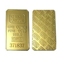 Wish | 24K 1 OZ Credit Suisse Gold Bullion &Clad Bar One Ounce Fine Gold 999.9 Replica Souvenir Coins With Different Serials Number (Size: 50mm*28mm*3mm, Color: Gold)