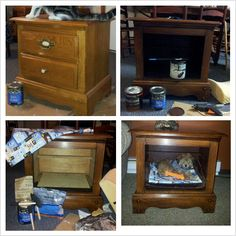Upcycle nightstand into dog bed/side table