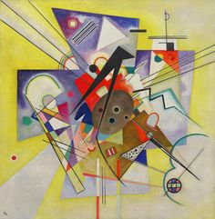 Yellow Accompaniment by Vasily Kandinsky, Guggenheim Museum Size: cm Medium: Oil on canvas Solomon R. Guggenheim Museum, New York Solomon R. Guggenheim Founding Collection, By gift ©. Wassily Kandinsky, Abstract Words, Abstract Art, Abstract Landscape, Fine Art Prints, Canvas Prints, Art Moderne, Art Plastique, Oeuvre D'art