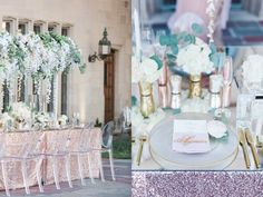 CALORIE DARLING PHOTOGRAPHY » Metallic Wedding Reception, Blush Table setting, metallic table setting, pink reception details, Metallic place setting Reception Details - VALORIE DARLING