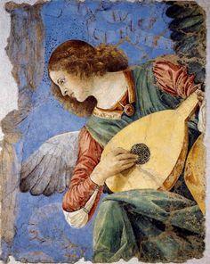 Melozzo da Forlì, Înger, cca 1480, detaliu de frescă. Roma, Pinacoteca Vaticanului