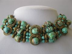 A vintage 1940's unsigned glass necklace by Miriam Haskell. www.oxfordjewel.com