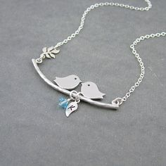 Birds on a Branch Necklace, Birthstone Initial Necklace, Sterling Silver Bird Necklace,  Mama Bird Family Necklace, Love Birds,