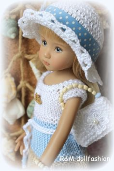"""Knitted outfit for 13"""" Effner Little Darling dolls"""
