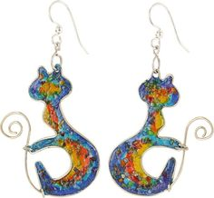 Curled Rainbow Kitty Silver Plated Earrings  Item #48507  $20,   from www.theanimalrescuesite.com