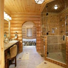 Log Cabin Home Bathroom- @Andrew Mager Facchini Pretty sure this was the shower you were referring too... :)
