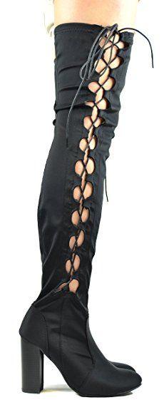 9521b325 Chase & Chloe Addison-2 Block Chunky Heel Side Lace-Up Women's Thigh ...