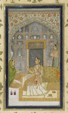 Small Clive Album p. lady in pavilion, opaque watercolour on paper, Mughal, century Pichwai Paintings, Mughal Paintings, Indian Art Paintings, Modern Art Paintings, Arte Krishna, Mughal Miniature Paintings, Indian Traditional Paintings, Indian Folk Art, India Art
