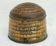 ≗ The Bee's Reverie ≗ Mackintosh's Beehive Toffee Candy Tin Vintage Tins, Vintage Antiques, Vintage Kitchen, Hives And Honey, Bee Skep, Tin Containers, Bee Art, Bee Design, Bee Happy