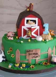 Animal Jungle Safari Theme Kids Birthday Party Cakes and Cupcakes - Mumbai Farm Birthday Cakes, Farm Animal Birthday, 3rd Birthday, 2 Year Old Birthday Cake, Birthday Ideas, Bithday Cake, Cupcakes, Cupcake Cakes, Barnyard Cake