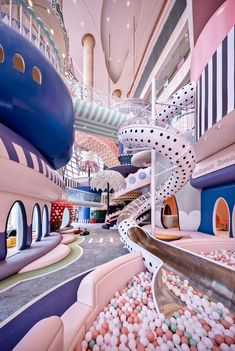A polka-dot slide into a ball pit and giant pastel parasols feature in a fantastical miniature city called Shenzhen Neobio Family Park, by X+ Living. Shenzhen, Room Decor Bedroom, Girls Bedroom, Bedroom Furniture, Kids Indoor Playground, Colorful Umbrellas, Play Shop, Centre Commercial, Dream Rooms