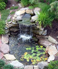 Landscaping And Outdoor Building , Relaxing Waterfalls Backyard Ponds : Waterfalls Backyard Ponds With Stones