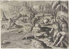Jan Collaert (II) | Krokodillenvangst, Jan Collaert (II), Philips Galle, Cornelis Kiliaan, after 1598 - 1628 | Aan de oevers van de Nijl worden krokodillen gevangen door varkens als lokmiddel te gebruiken. De krokodillen komen uit het water om de varkens te verorberen. Vervolgens worden de beesten met stenen bekogeld. De prent is deel van een serie over jachttaferelen.