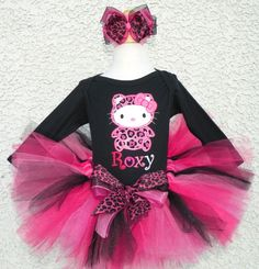 Pink Leopard Winter Hello Kitty Tutu Outfit