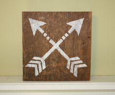 Tribal Arrows Reclaimed Barn Wood Sign Art, 8x8 Square, Hand Painted Acrylic, Rustic Design, Living Room, College, Vintage Hipster Indian