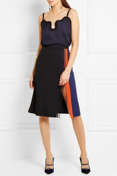 Black and royal-blue crepe, black and neon-orange crochet Concealed hook and zip fastening at back 51% acetate, 49% viscose; trim: 100% polyester; lining: 74% acetate, 26% silk Dry clean Made in Italy