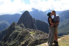 Finally made it to Machu Picchu. Several days of backpacking on the Inca Trail pays off with a spectacular view and a kiss.