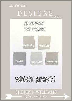 Best Sherwin Williams gray versus greige paint colours including undertones and photo of rooms.