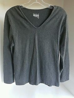 Women's Basic Editions Fit V Neck Gray Long Sleeve Cotton Stretchy Shirt Large L