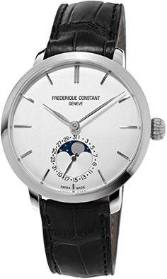 Frederique Constant Men's FC703S3S6 Slim Line Analog Display Swiss Automatic Black Watch