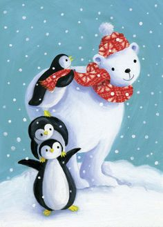 Pauline Siewert - Polar bear with penguins