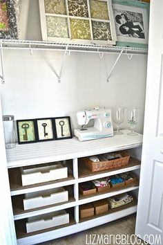 Dresser converted to craft center in closet. AWESOME!