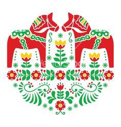 Swedish dala or daleclarian horse folk pattern vector by RedKoala on VectorStock®