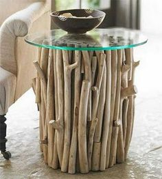 Nice idea to cover up an old table.. Twig Furniture, Recycled Furniture, Unique Furniture, Furniture Making, Furniture Design, Outdoor Furniture, Furniture Stores, Natural Furniture, Cabin Furniture