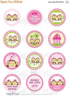 Pink TWIN Girl Monkey Baby Shower Cupcake by adlyowlinvitations
