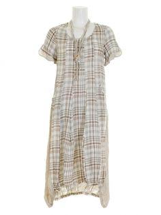Damen Leinenkleid mit Kette, taupe von Zedd bei www.meinkleidchen.de