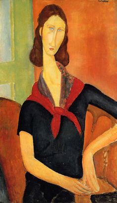 Jeanne Hebuterne in a Scarf 1919 | Amedeo Modigliani | Oil Painting #modglianipaintings