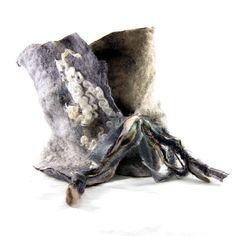 Felted Cowl Wool Cowl Felt Scarf Wool Scarf Winter by Fibernique, $45.00