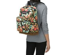 The JanSport Right Pack Expressions features a variety of prints, including animal prints, and colors on unique fabrications. This backpack includes signature suede leather bottom, 15 in laptop sleeve and front pocket with organizer. jansport.com