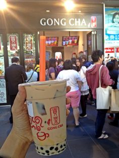 Roasted grass jelly milk tea @ Gong Cha Swanston Street, Melbourne.