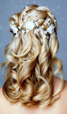 Bride's woven crown braid long down waterfall curls bridal hair ideas Toni Kami Wedding Hairstyles ♥ ❷ Wedding hairstyle