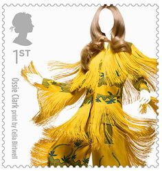 UK. Ossie Clark print by Celia Birtwell, married Designers. British Royal Mail - fashion stamps
