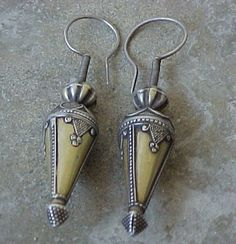 Antique Exqusite pair of Central Asian Kazak Silver Earrings