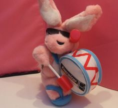 Energizer Bunny, Energizer Bunny Plush, Advertising Collectible, Plush Toy, Pink Bunny, Energizer Rabbit, Theater Decor, Man Cave Decor by BeautyMeetsTheEye on Etsy