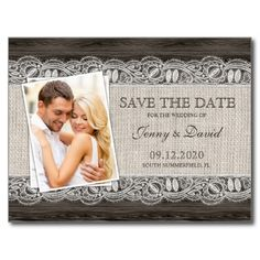 $0.93 Rustic Save The Date, Photo Save The Date Postcard