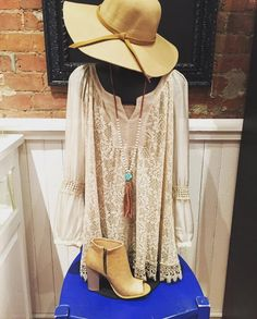 2-pc Frilly lace top with sequin detail- $69.95 Tan floppy hat- $24.95 Peep-toe tan Bootie- $32.95 Pearl/turquoise fringe necklace- $18.95  #madisonsbluebrick #boutiqueshopping #shoplocal #bootie #floppyhat