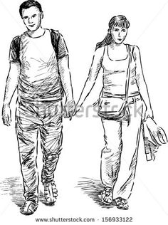 young couple at walk - stock vector