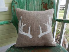 Painted Burlap ANTLERS Deer Throw Accent Pillow Custom Colors Available Home Decor on Etsy, $24.00