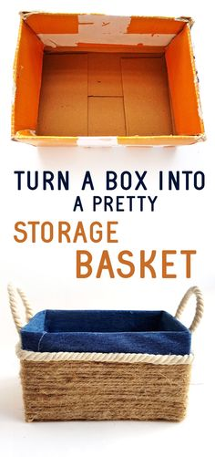 diy storage bins Click, to learn how to turn a plain cardboard box into a DIY storage bin in just a few steps! This DIY organizing solution is a great way to spring clean and repurpose cardboard boxes. Cardboard Box Storage, Cardboard Box Crafts, Cardboard Crafts, Cardboard Castle, Diy With Cardboard Boxes, Cardboard Playhouse, Cardboard Furniture, Pretty Storage Boxes, Diy Storage Boxes