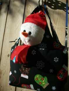 Winter Mittens Mini Sac Tote with Snowman Plushie by joliefemme