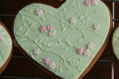 Green Cherry Blossom Heart Cookie
