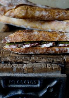 Sandwich: Saucissons Secs, Pickles, and Butter with Baguette Bread; via MANGER by Mimi Thorisson
